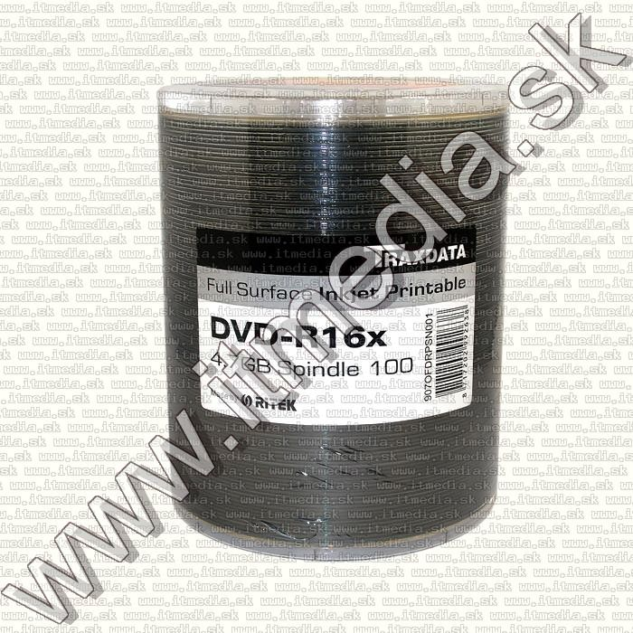 Image of Traxdata DVD-R 16x 100cw RITEK Fullprint NO-ID (IT11940)