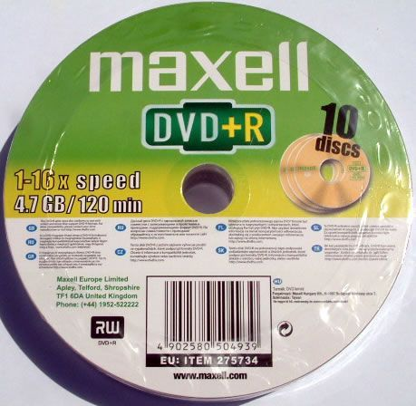 Image of Maxell DVD+R 16x 10cw (IT2216)