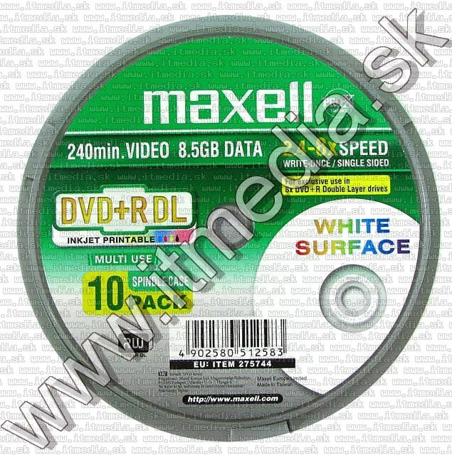 Image of MAXELL DVD+R Double Layer 8x 10cake *PRINT* (IT5408)
