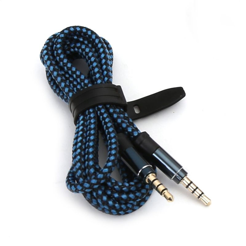 Image of Jack(3.5)-jack(3.5) 4-pin audio cable 1m Fabric Blue (IT13612)