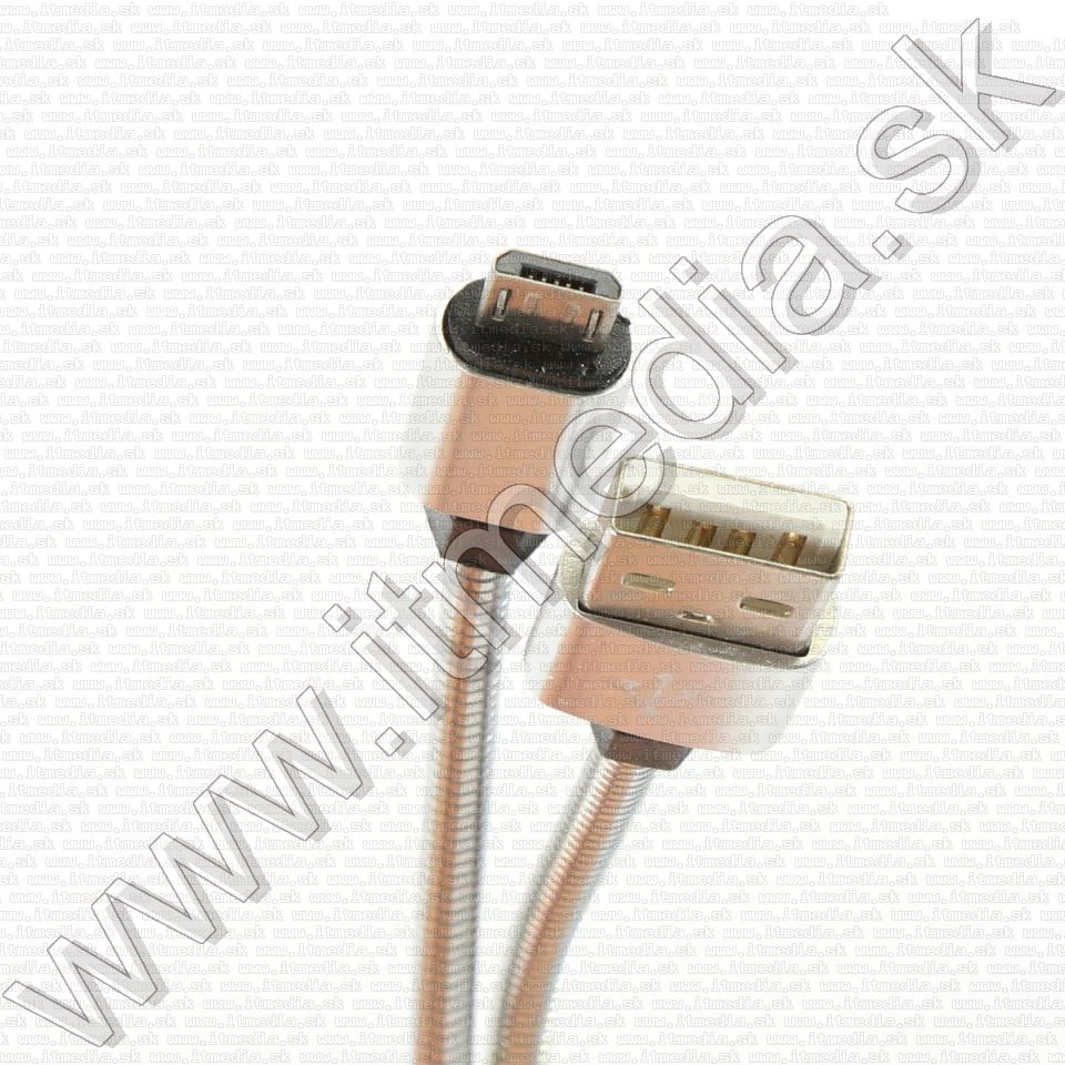 Image of USB - microUSB cable Metal 1m *Silver* 1.8A HQ (IT14393)