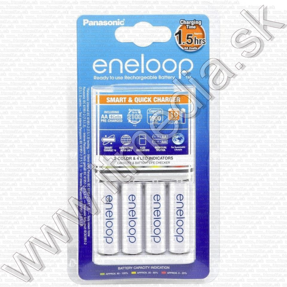 Image of Panasonic Eneloop Smart&Quick Battery Charger +4xAA Eneloop 1900mAh (IT10483)