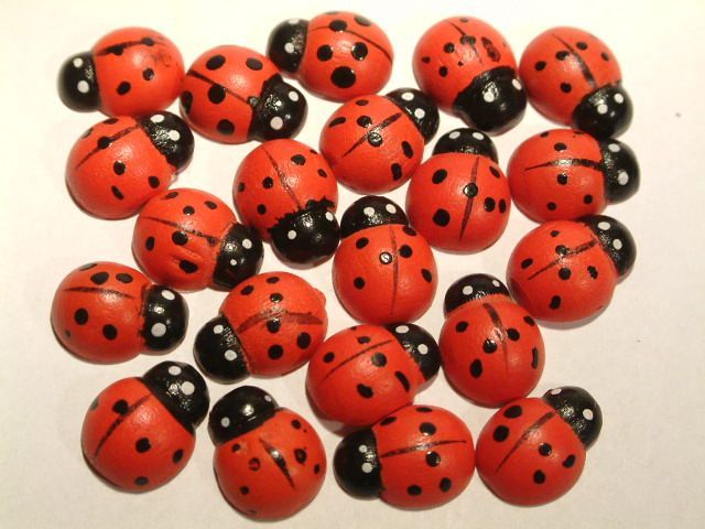 Image of LadyBug Decoration Set 15x11mm 10-part (2874) (IT2462)
