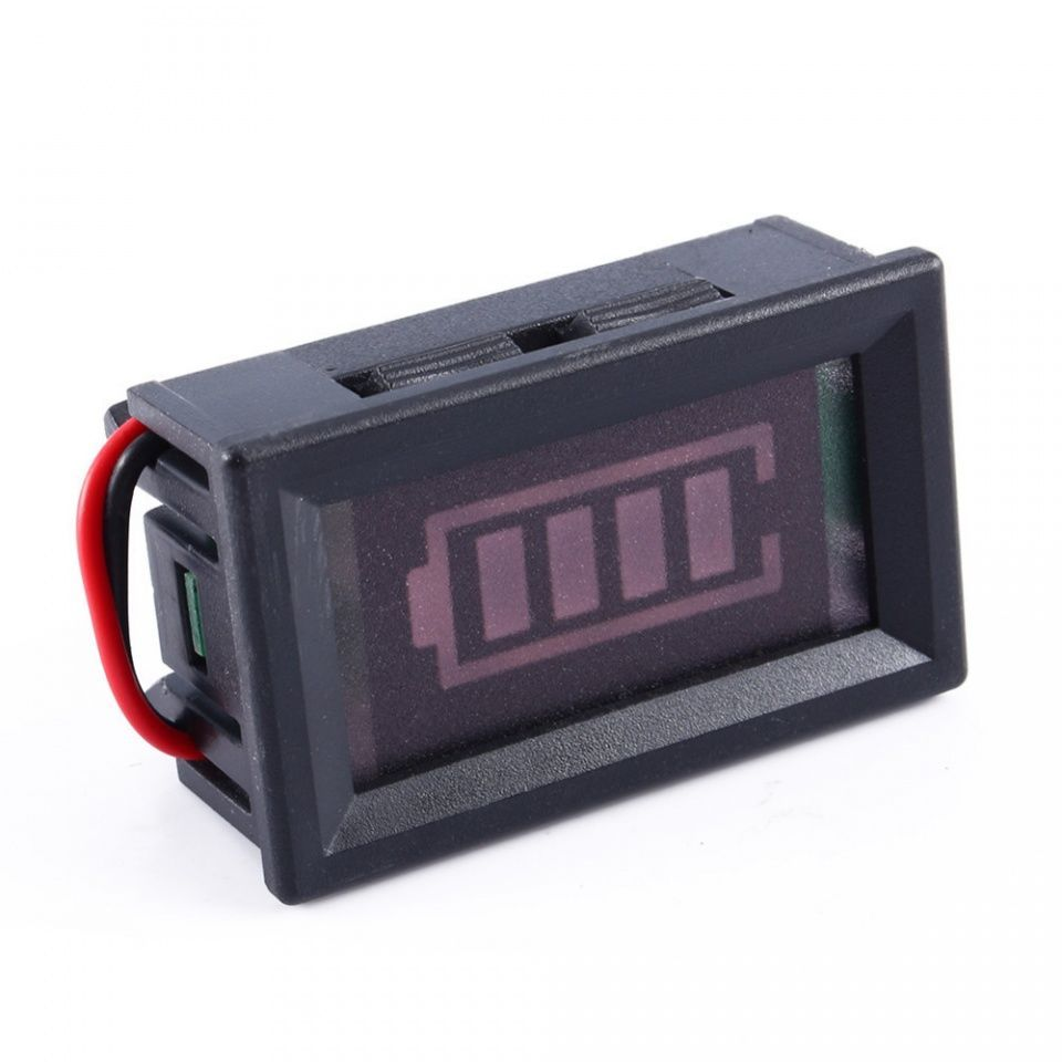 Image of Electronic Voltage Meter 4-bar Red Car 12V 2wire (IT12887)