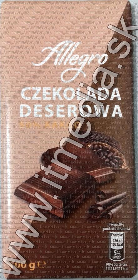 Image of Allegro Dark Chocolate 100g  (IT13917)
