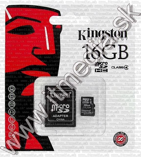 Image of Kingston microSD-HC card 16GB Class4 + adapter (IT5930)