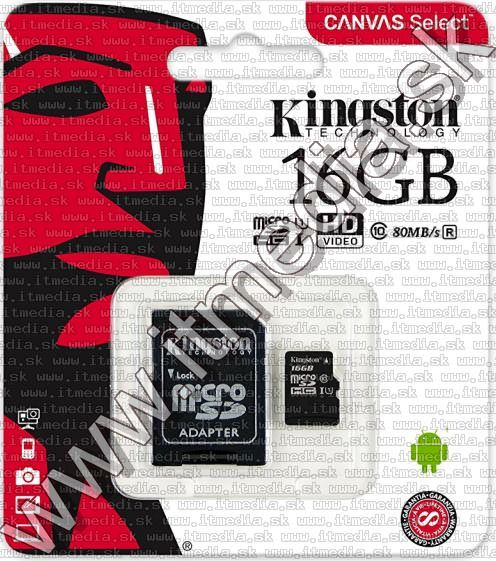 Image of Kingston microSD-HC card 16GB UHS-I U1 Class10 + adapter (80/10 MBps) Canvas Select (IT13464)