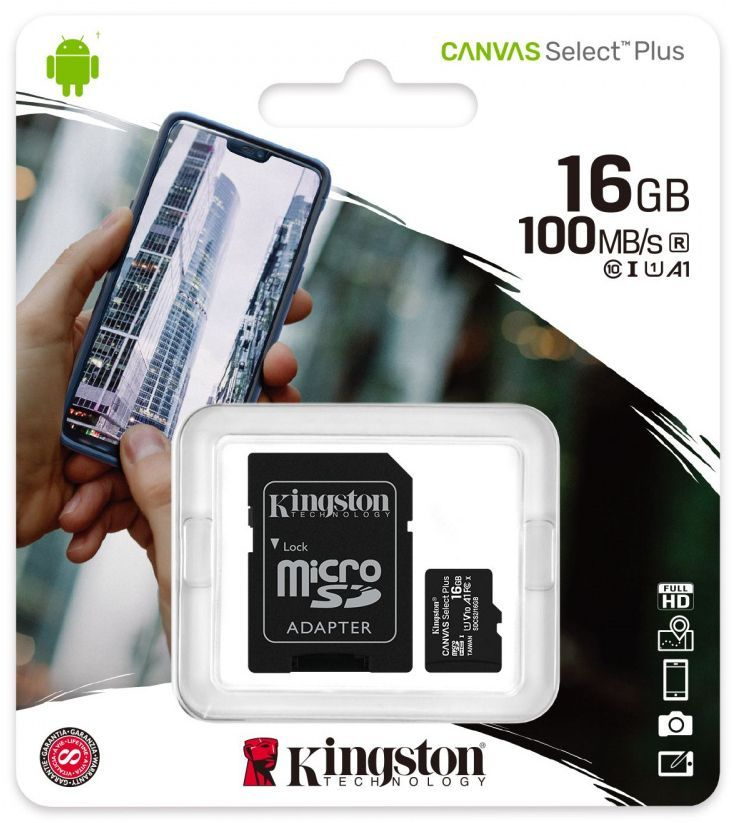 Image of Kingston microSD-HC 16GB Class10 UHS-I U1 A1 + adapter (100R/10W) Canvas Select Plus (IT14373)
