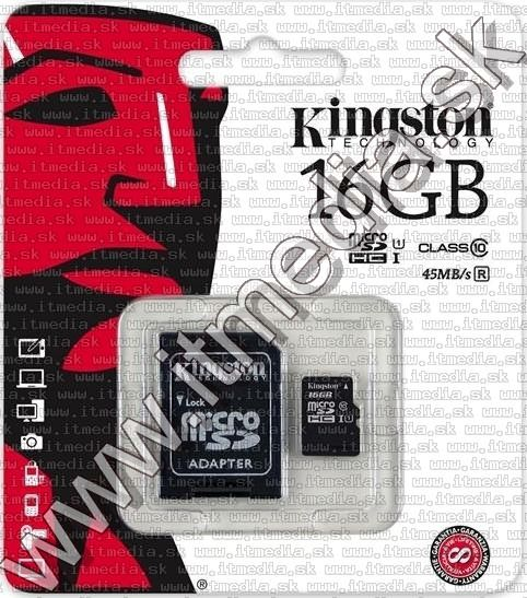 Image of Kingston microSD-HC card 16GB UHS-I U1 Class10 + adapter (45/10 MBps) (IT8372)
