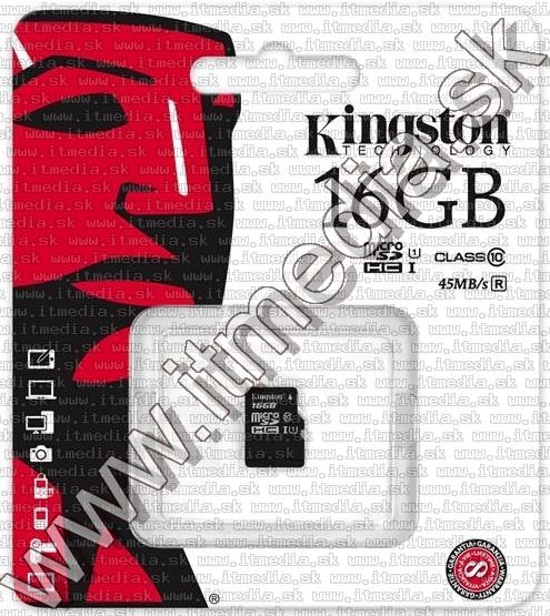 Image of Kingston microSD-HC kártya 16GB UHS-I U1 Class10 adapter nélkül! (45/10 MBps) (IT11557)