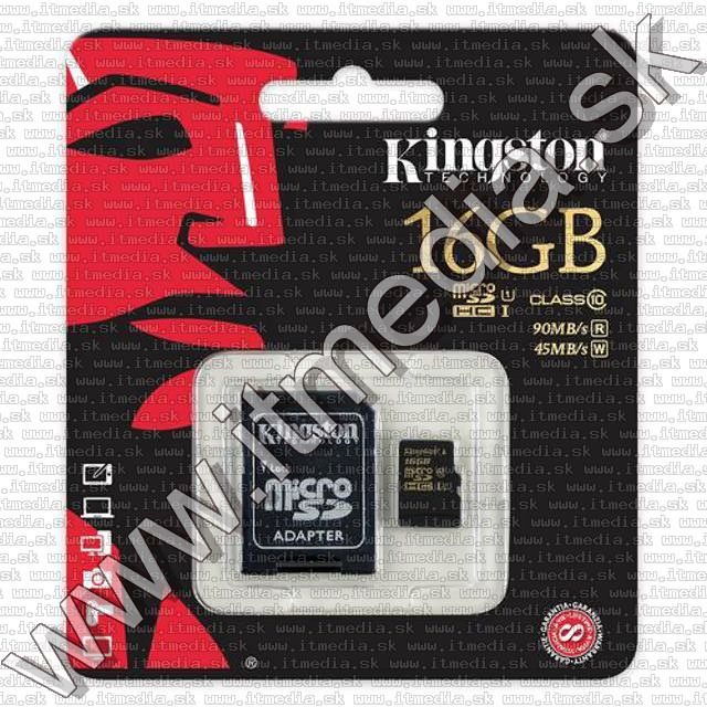 Image of Kingston microSD-HC card 16GB UHS-I U1 GOLD Class10 SDCA10/16GB + adapter (90/45 MBps) (IT10048)