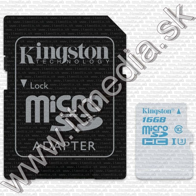 Image of Kingston microSD-HC kártya 16GB UHS-I U3 Action Camera Class10 SDCAC/16GB + adapter (90/45 MBps) (IT12081)