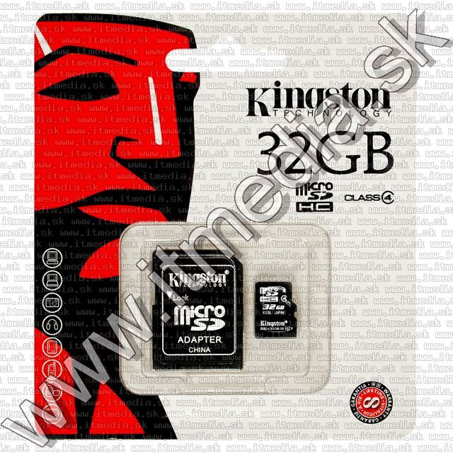 Image of Kingston microSD-HC card 32GB Class4 + adapter (IT7405)