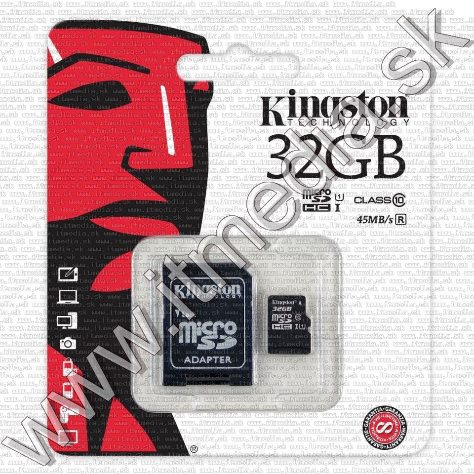 Image of Kingston microSD-HC card 32GB UHS-I U1 Class10 + adapter (45/10 MBps) (IT8589)