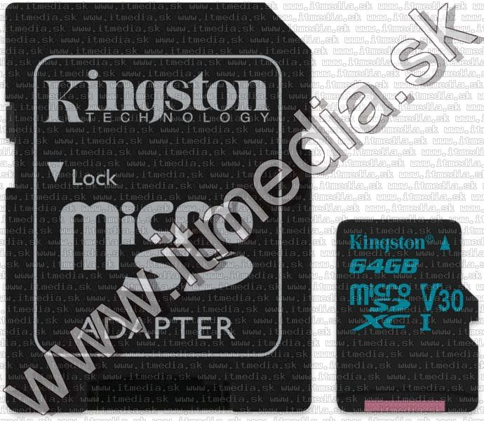 Image of Kingston microSD-XC card 64GB UHS-I U3 Class10 + adapter (90/45 MBps) Canvas Go (IT13547)