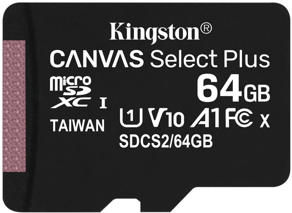 Image of Kingston microSD-XC 64GB Class10 UHS-I U1 A1 + adapter (100R/10W) Canvas Select Plus (IT14375)