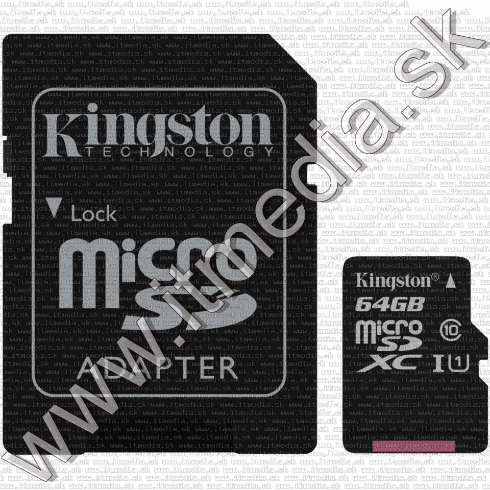 Image of Kingston microSD-XC card 64GB UHS-I U1 Class10 + adapter (80/10 MBps) Canvas Select (IT13502)