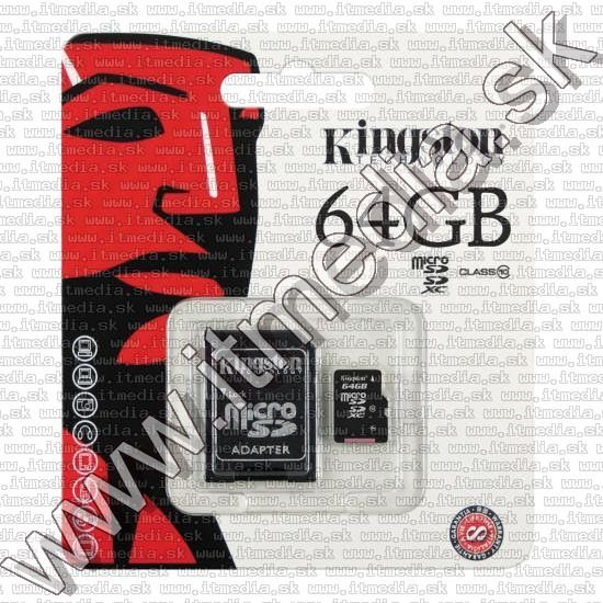 Image of Kingston microSD-XC kártya 64GB UHS-I U1 *Class10* INFO! + adapter (45/10 MBps) (IT9667)