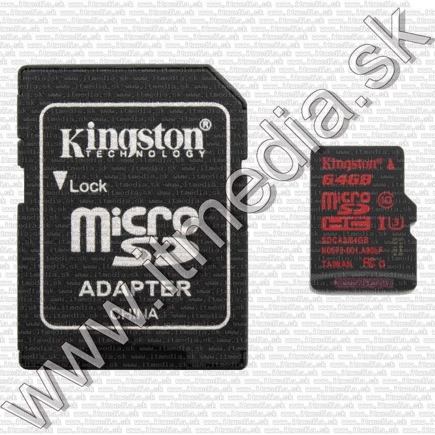 Image of Kingston microSD-XC kártya 64GB UHS-I U3 Class10 SDCA3/64GB + adapter (90/80 MBps) (IT11463)