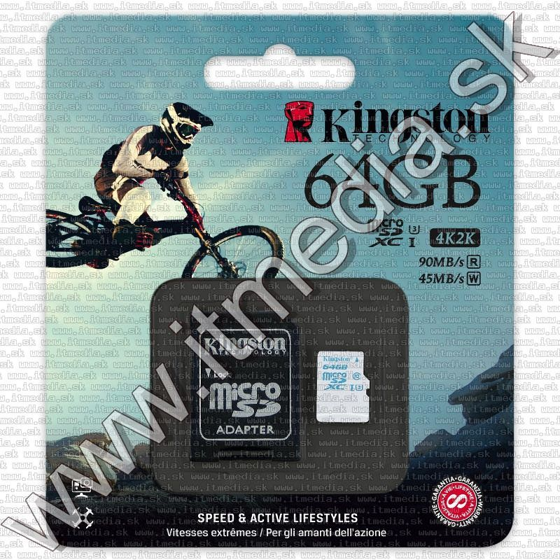 Image of Kingston microSD-XC!!! kártya 64GB UHS-I U3 Action Camera Class10 SDCAC/64GB + adapter (90/45 MBps) (IT12083)