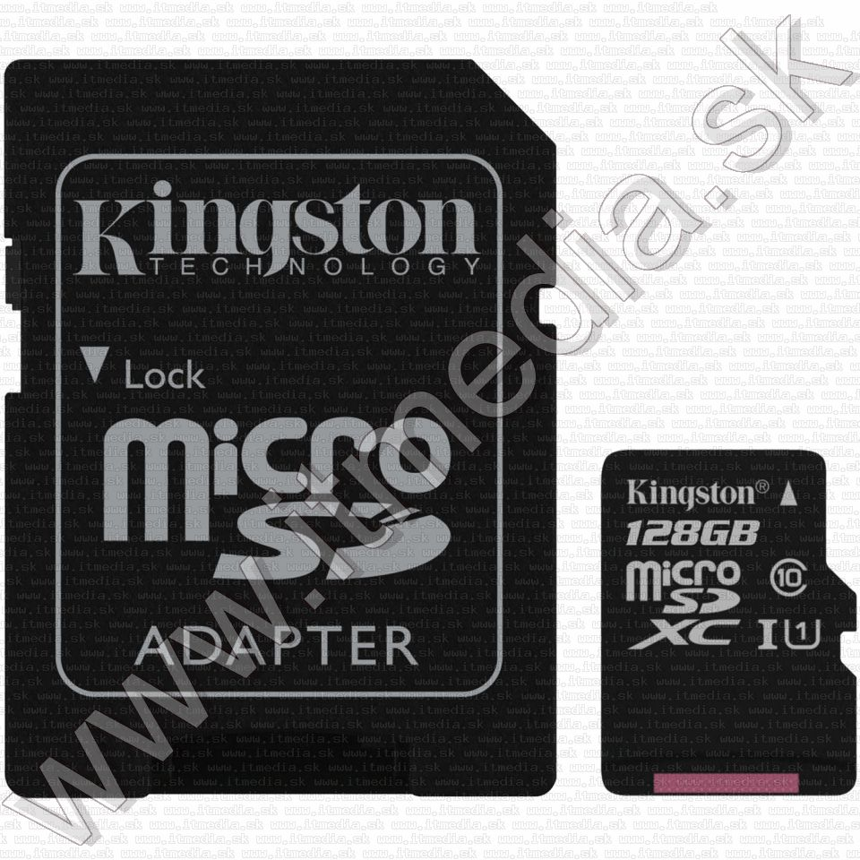 Image of Kingston microSD-XC card 128GB UHS-I U1 Class10 + adapter (80/10 MBps) Canvas Select (IT13517)