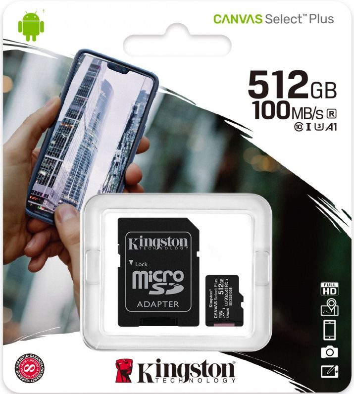 Image of Kingston microSD-XC 512GB Class10 UHS-I U3 V30 A1 + adapter (100R/30W) Canvas Select Plus (IT14735)