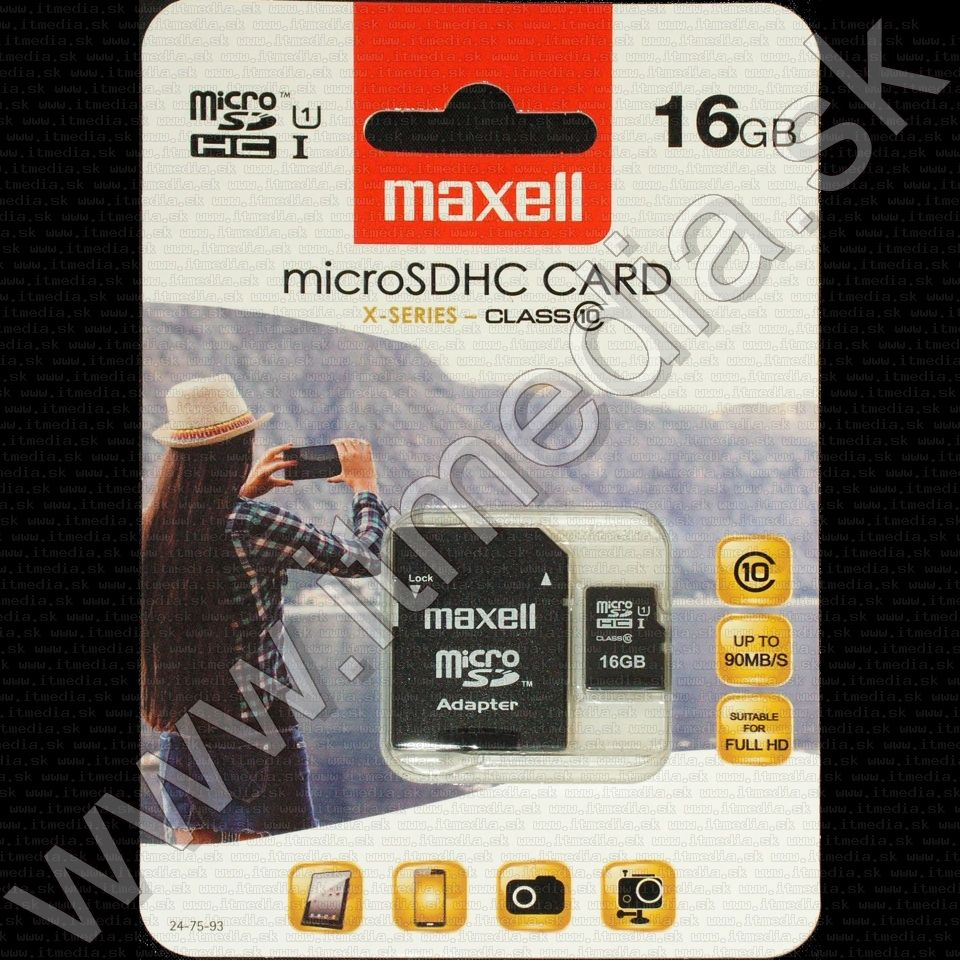 Image of Maxell microSD-HC kártya 16GB Class10 UHS-I U1 + adapter (90/10 MBps) (IT8907)