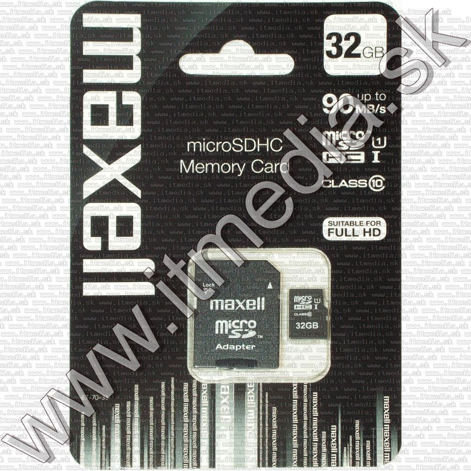Image of Maxell microSD-HC kártya 32GB Class10 UHS-I U1 + adapter (90/10 MBps) (IT12706)