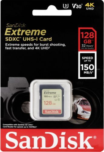 Image of Sandisk SD-XC kártya 128GB UHS-I U3 V30 4K *Extreme* Class10 [150R70W] (IT13880)