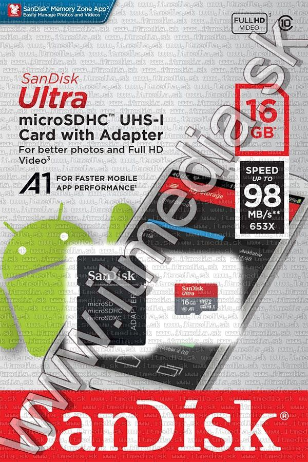 Image of Sandisk microSD-HC kártya 16GB UHS-I U1 A1 *Mobile Ultra Androidhoz* 98MB/s + adapter (IT13289)
