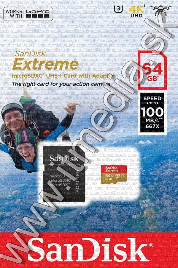 Image of Sandisk microSD-XC card 64GB UHS-I U3 V30 *Extreme GoPro* 100/60 MB/s + adapter (IT13194)