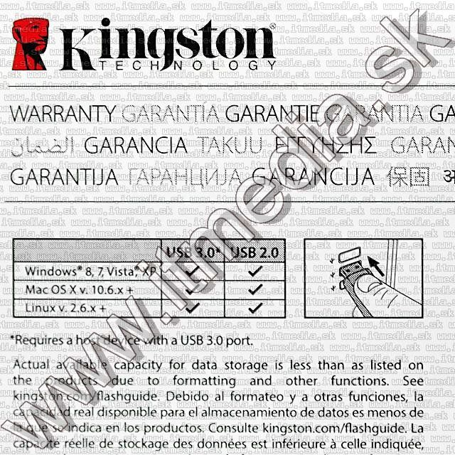 Image of Kingston USB 3.0 pendrive 8GB *DT 100 G3* (IT8864)