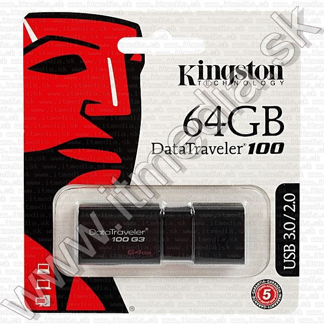 Image of Kingston USB 3.0 pendrive 64GB *DT 100 G3* (100/10 MBps) (IT8867)