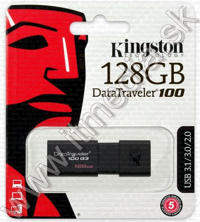 Image of Kingston USB 3.0 pendrive 128GB *DT 100 G3* (100/10 MBps) (IT12889)