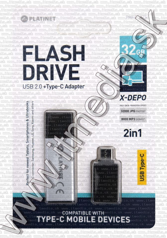 Image of Platinet USB pendrive 32GB X-DEPO + USB-C (43996) Silver INFO! (IT13453)
