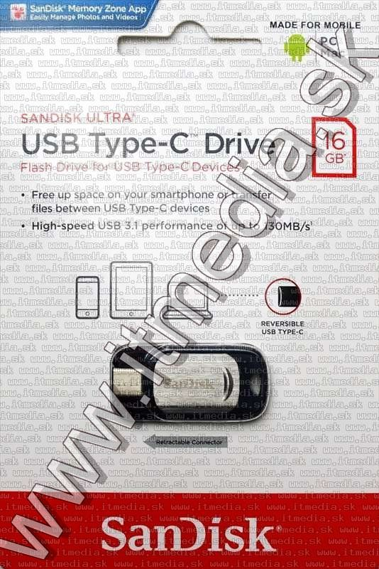 Image of Sandisk USB 3.1 pendrive 16GB *USB Type-C* [150R] (IT13331)