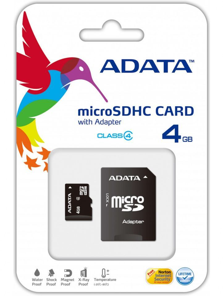 Image of Adata microSD-HC Secure Digital card 4GB class4 (IT13801)