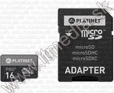 Image of Platinet microSD kártya 16GB UHS-I u3 [44001] [85R40W] (IT13402)